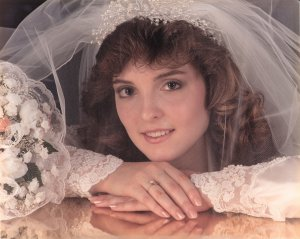 Amy on our wedding day 8.12.89