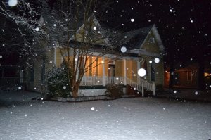 Our House in a snow a winter or two ago.  It is For Sale!